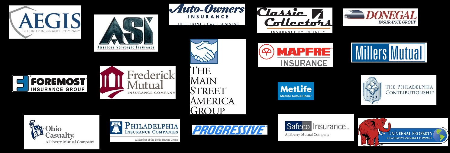 insurance companies, aegis, asi, auto-owners, classic collectors, donegal, foremost, frederick mutual, metlife, progressive, safeco, mapfre