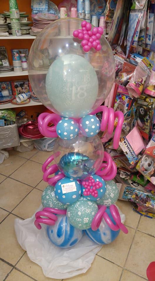 Decorazione con dei palloncini di color azzurro e forma di una stella marina