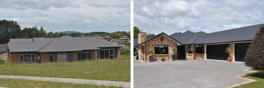 Houses in Morrinsville after receiving roof repairs