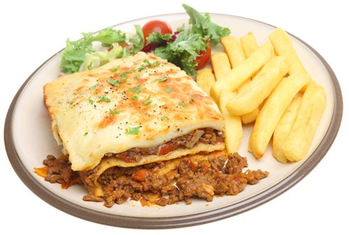 Beef lasagna with chips and salad
