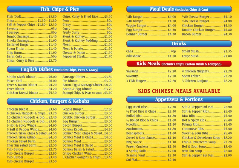 Menu prescot the big chippy for Big fish menu