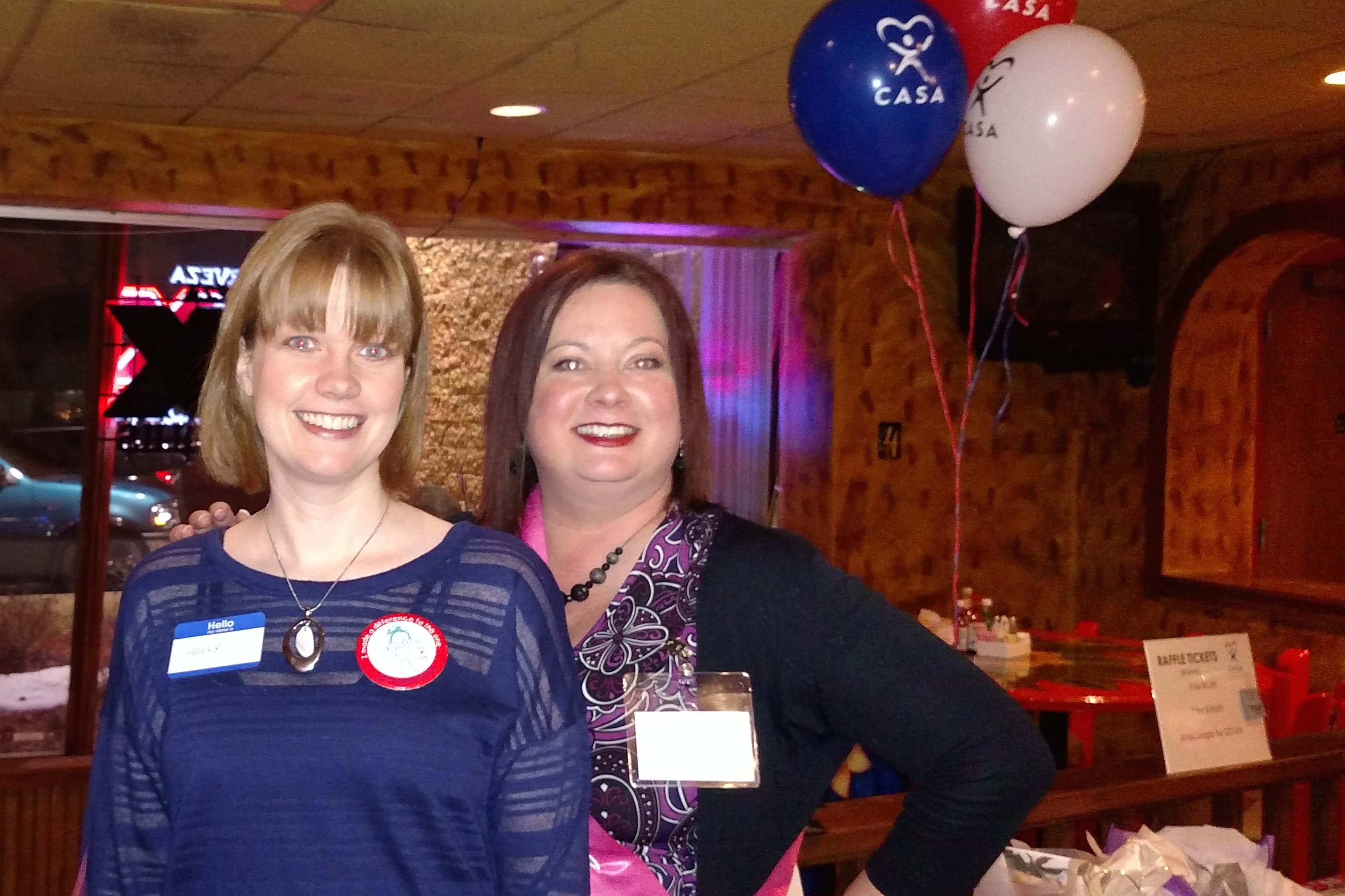 Crystal Reinoso and CASA volunteer Holly Anderson at Girls Night Out fund raiser.  January 2015