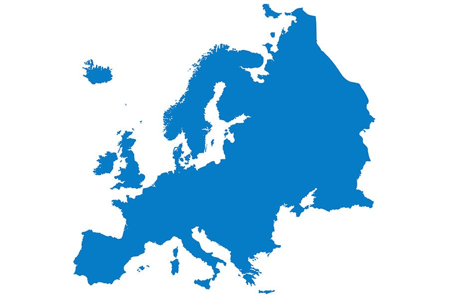 un'immagine dell'Europa di color blu