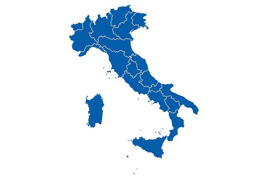 un'immagine dell'Italia di color blu