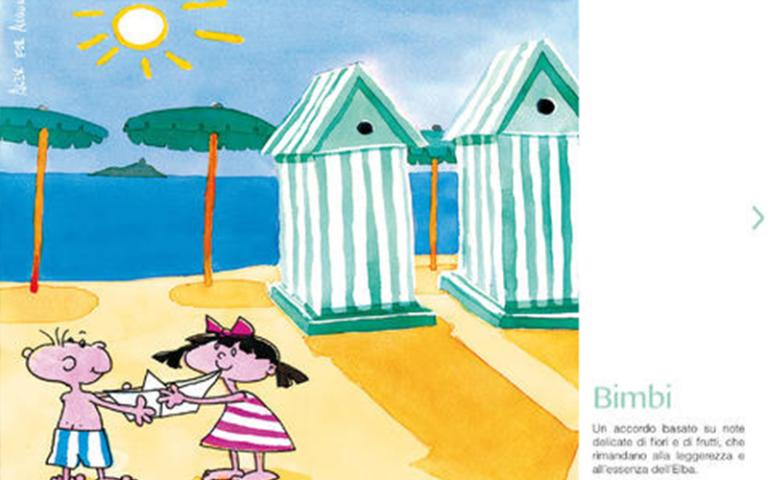 disegno di due bambini che giocano sulla spiaggia