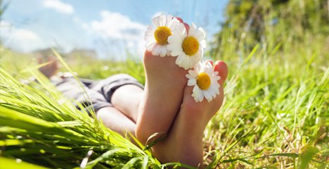 feet with flowers