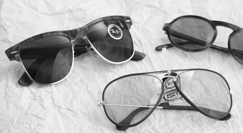 Occhiali da sole vintage in bianco e nero
