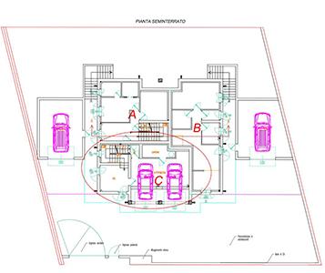 un disegno tecnico di un seminterrato