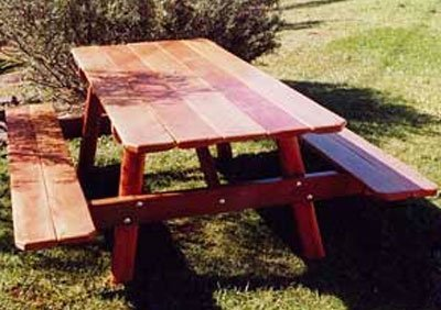 Sealed timber picnic table
