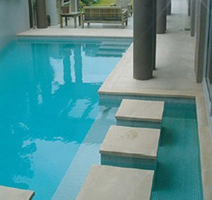 Feature tiles around pool