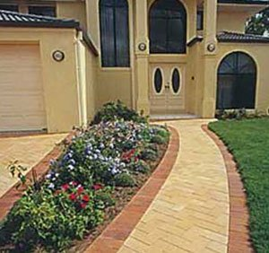 Two toned clay paving path and driveway