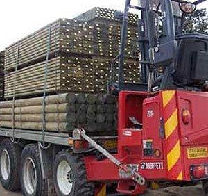 Crane loading trucks