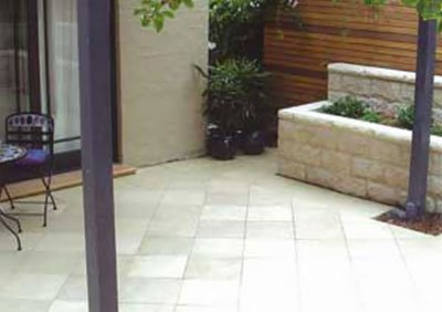 Concrete paving under verandah