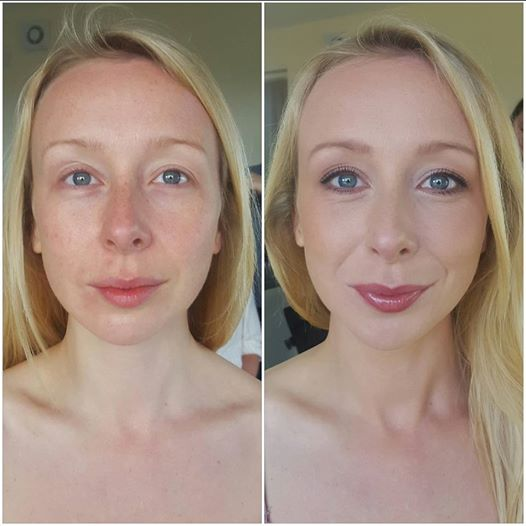 lovely bridal makeup - before and after