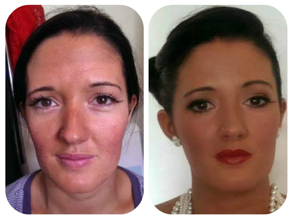 mother of the bride makeup - before and after
