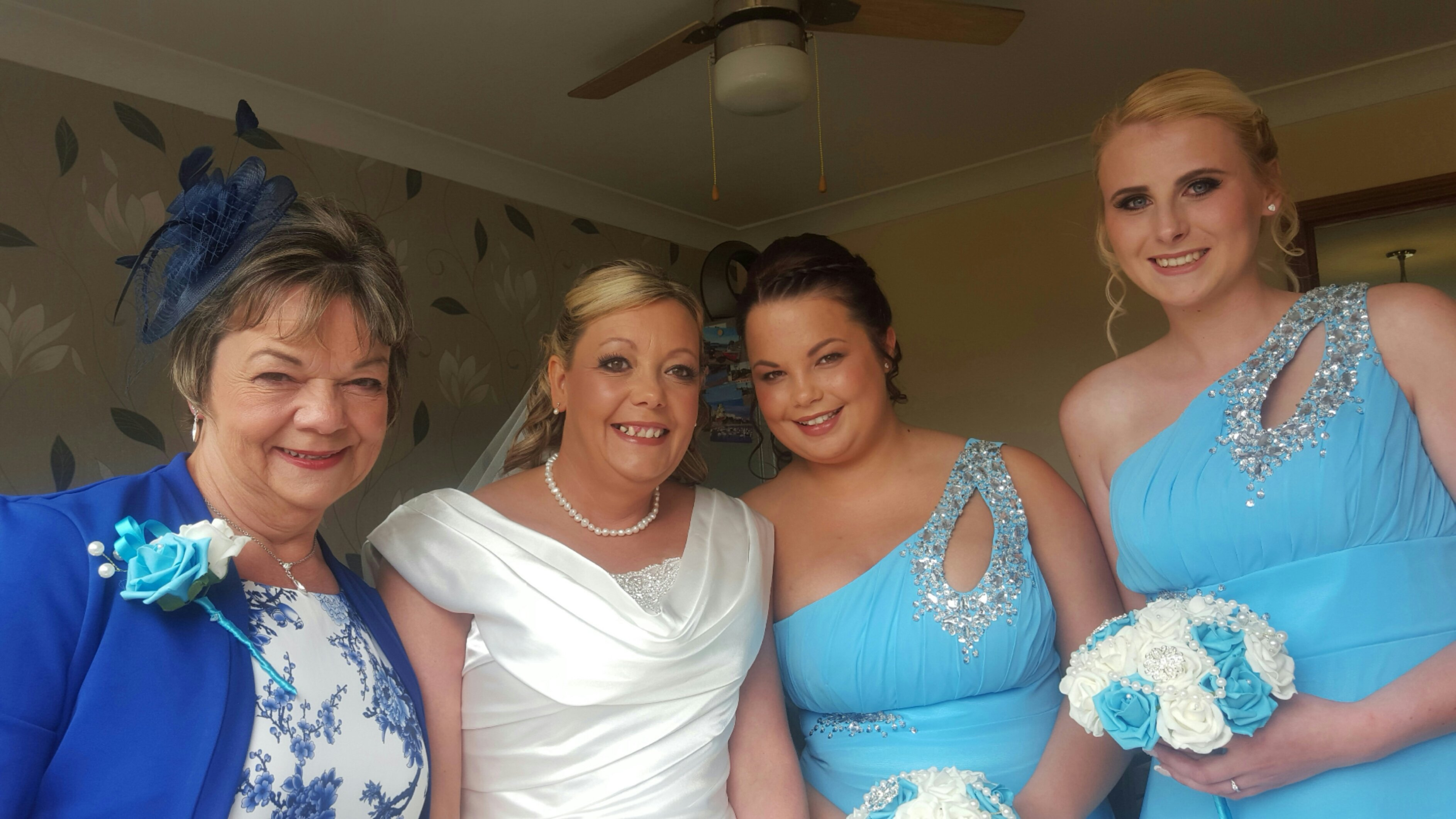 mother of bride, bride and bridesmaids