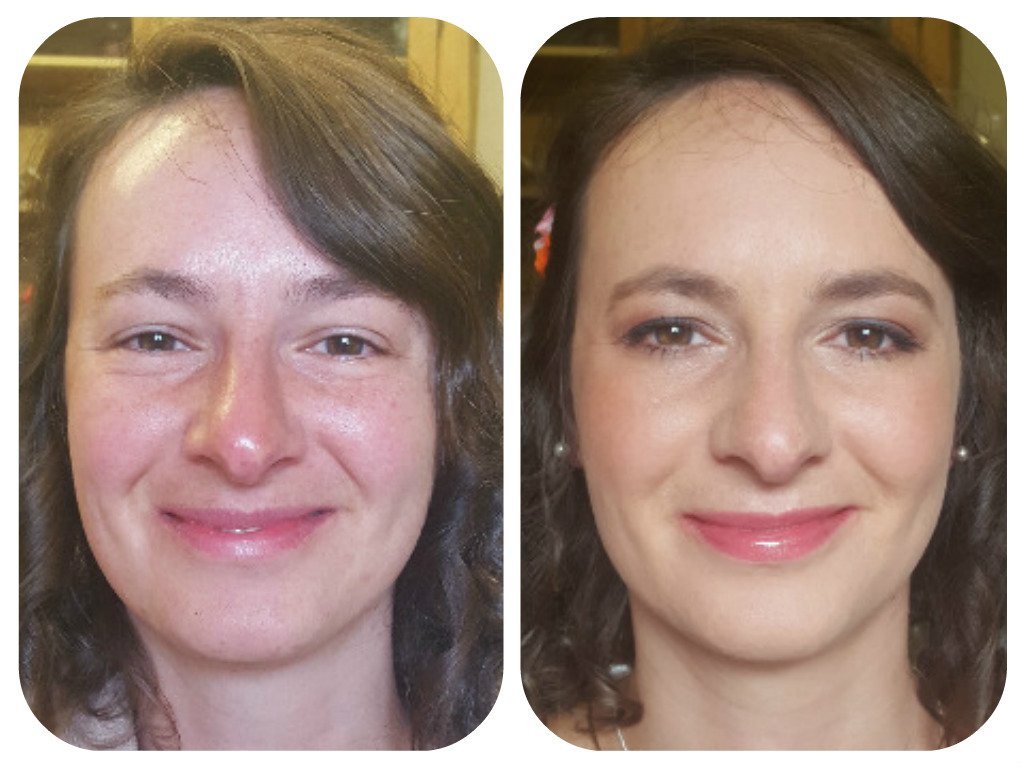 event makeup - before and after