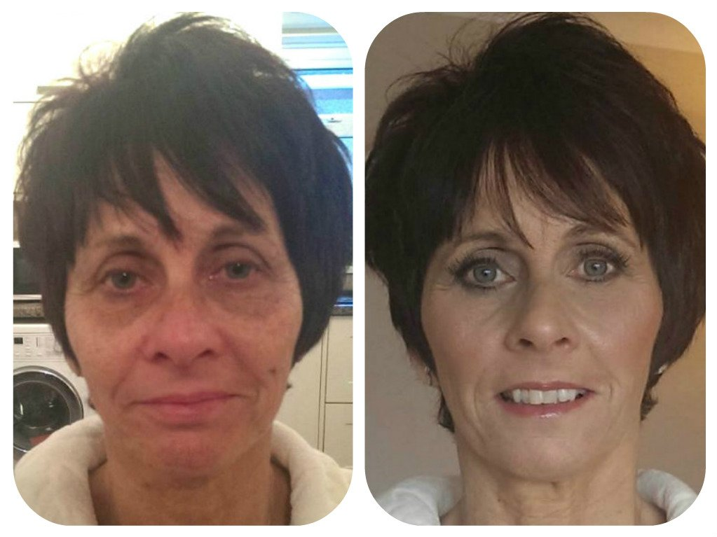 short -haired woman before and after makeup