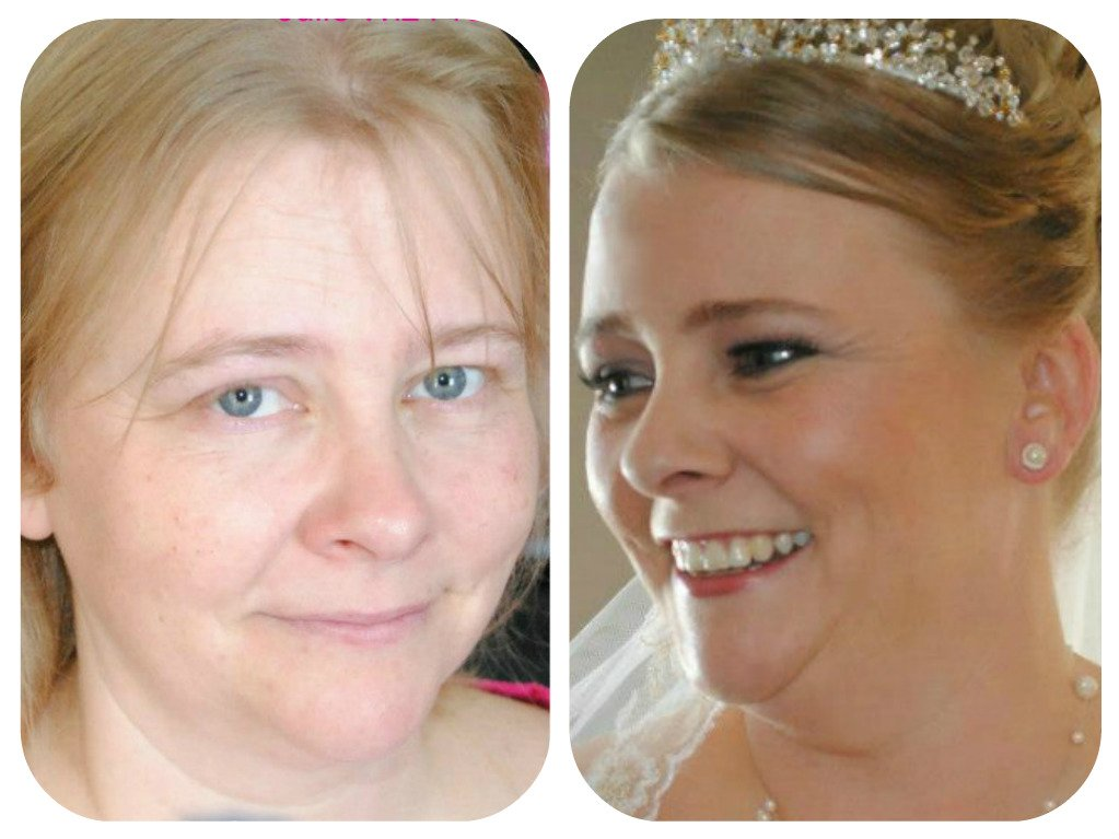 wedding makeup -before and after