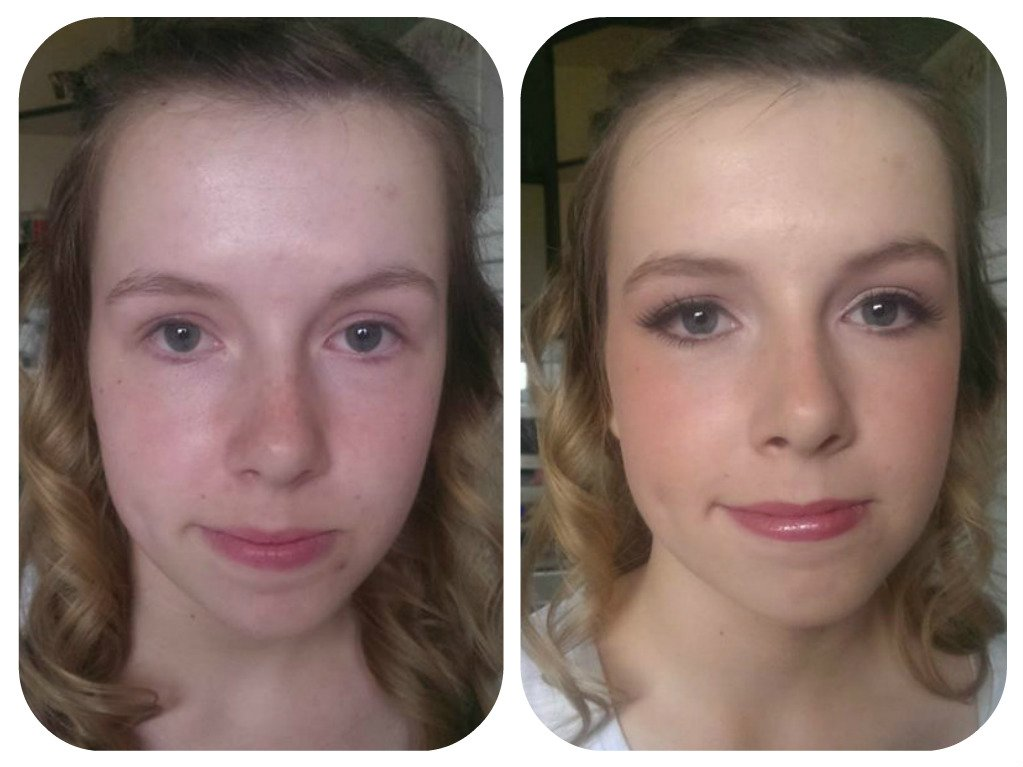 English wedding makeup - before and after