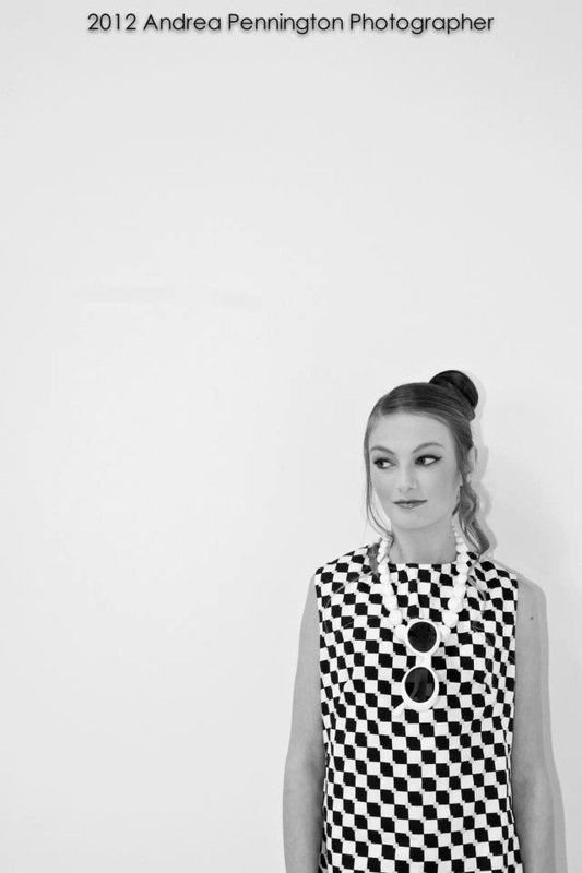 model in a checkered dress