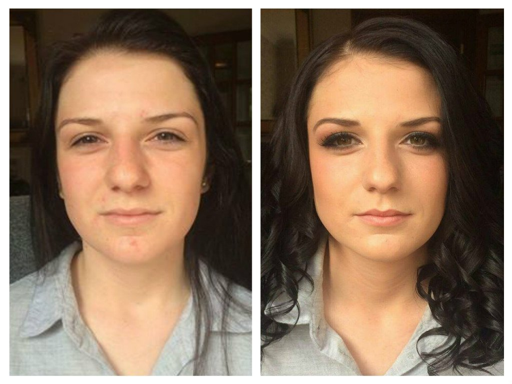 gorgeous bridal makeup - before and after