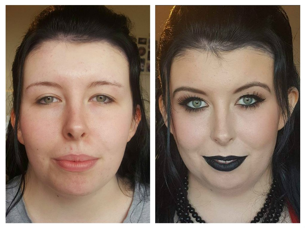 before and after Goth look