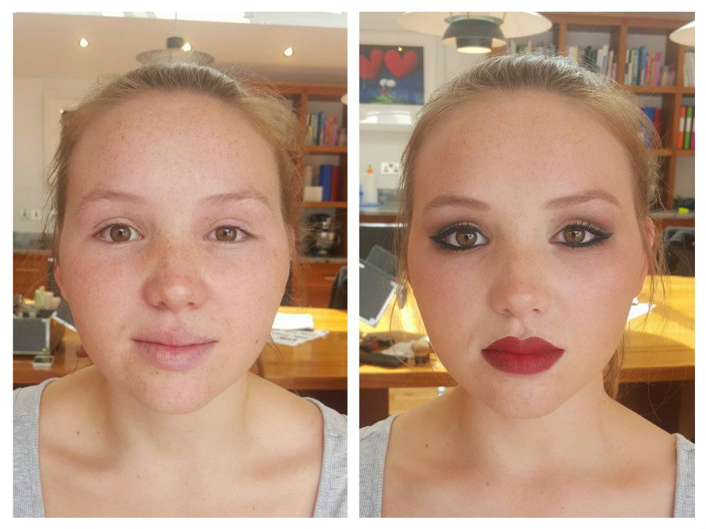 stylish bridal makeup - before and after
