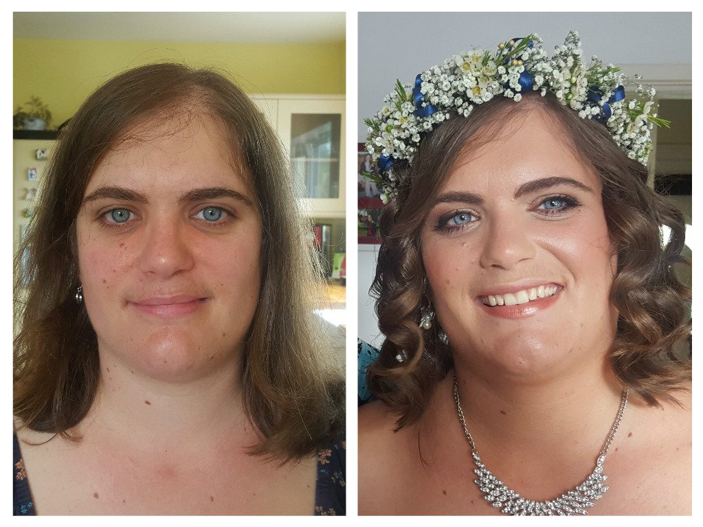 excellent bridal makeup - before and after