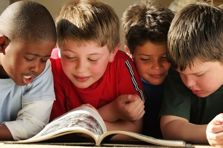 Young group reading