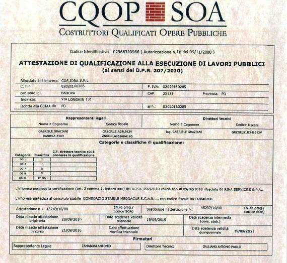 certificazioni SOA