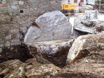 vista della terra in uno scavo