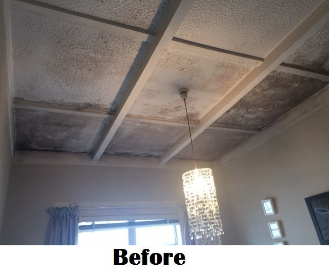 before ceiling was cleaned