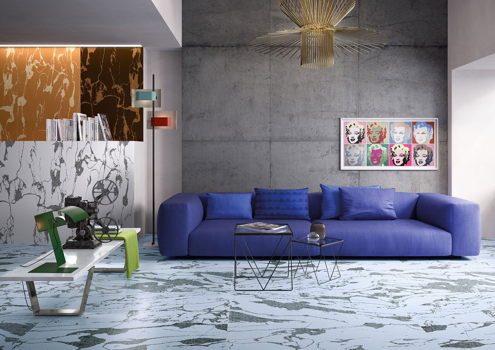 un salotto con un divano blu due tavolini e un monta pellicole sulla sinistra
