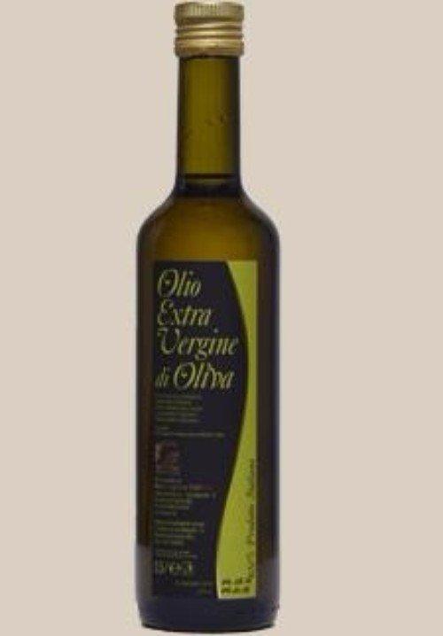 una bottiglia di olio extra vergine di oliva