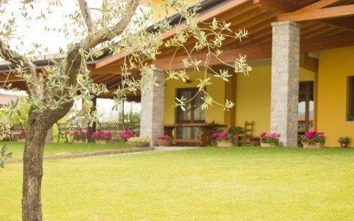 una veranda con sotto dei vasi di fiori e un prato davanti
