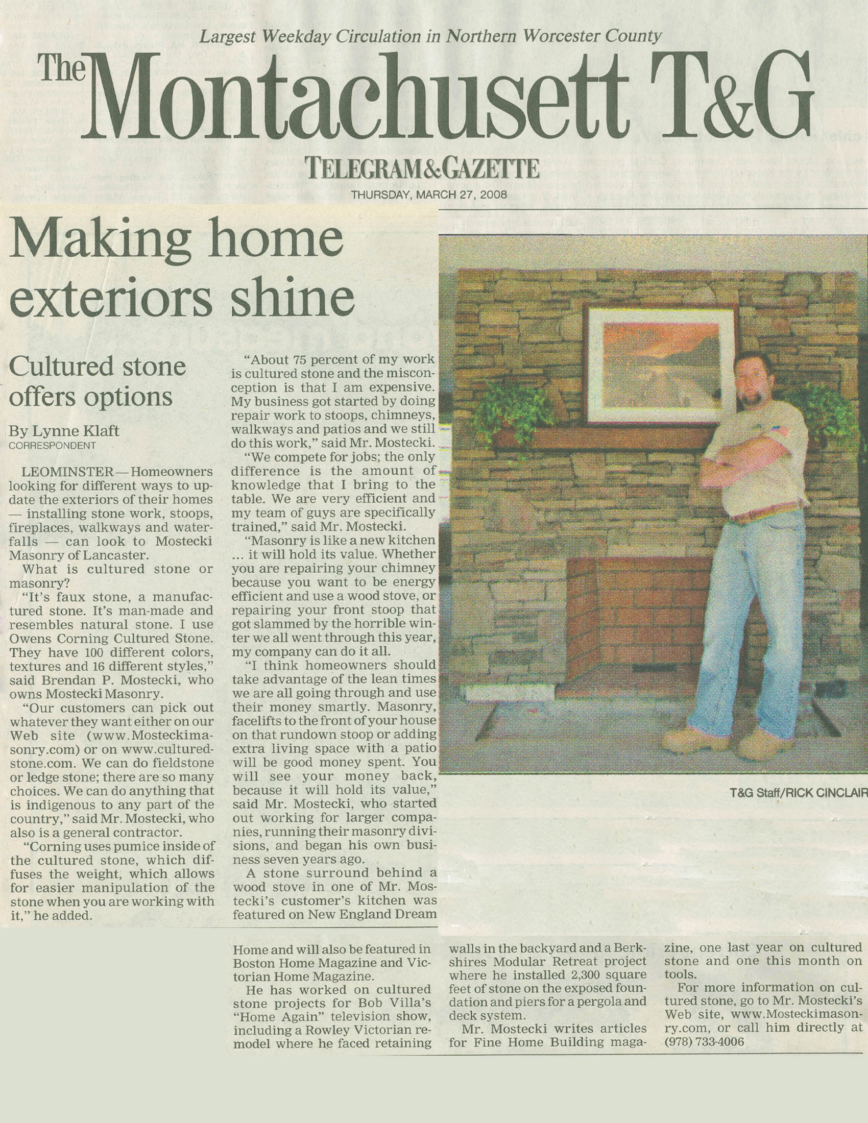 Mostecki Masonry Cultured Stone Fireplace Installation Article