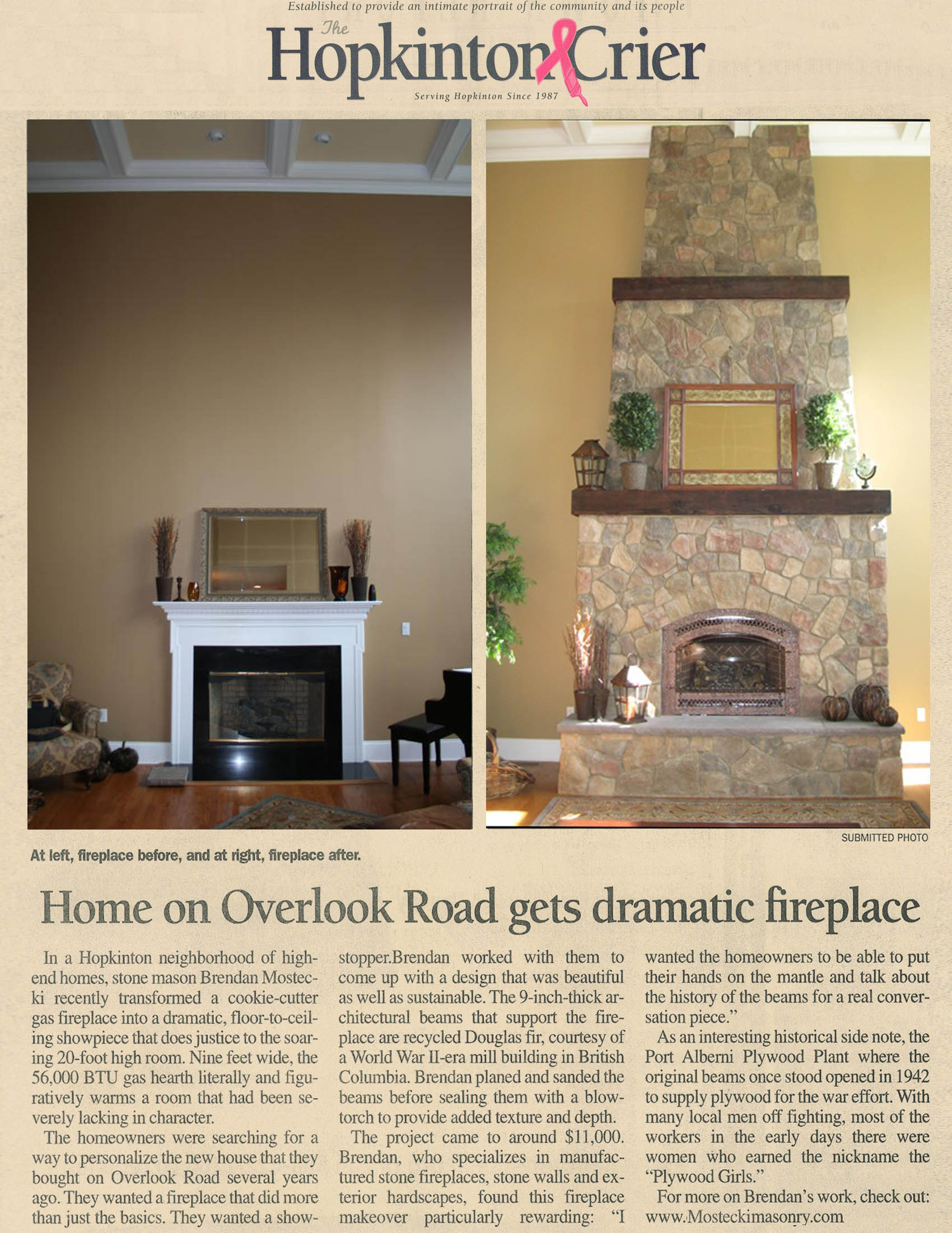hopkinton ma manufactured stone fireplace news article