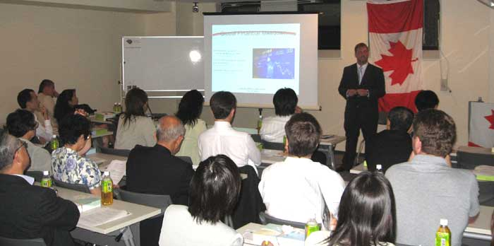 Allan Edwards, Canadian Consul presenting in Nagoya, Japan