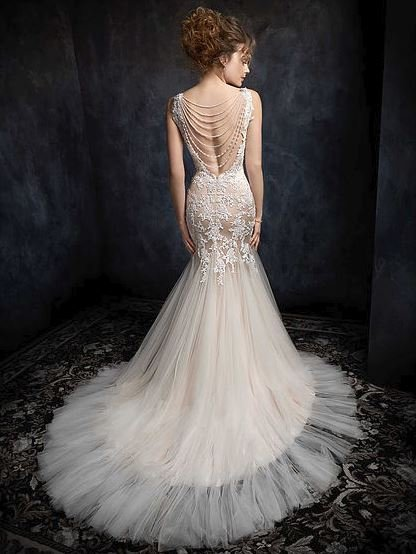 Kenneth Winston Almond/Ivory Silver Wedding Dress top back view