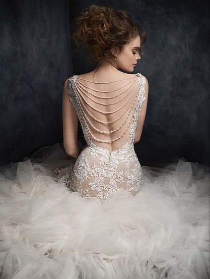Kenneth Winston Almond/Ivory Silver Wedding Dress full back view