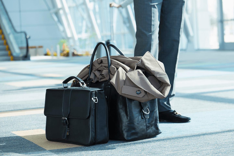 Hand luggage and coat