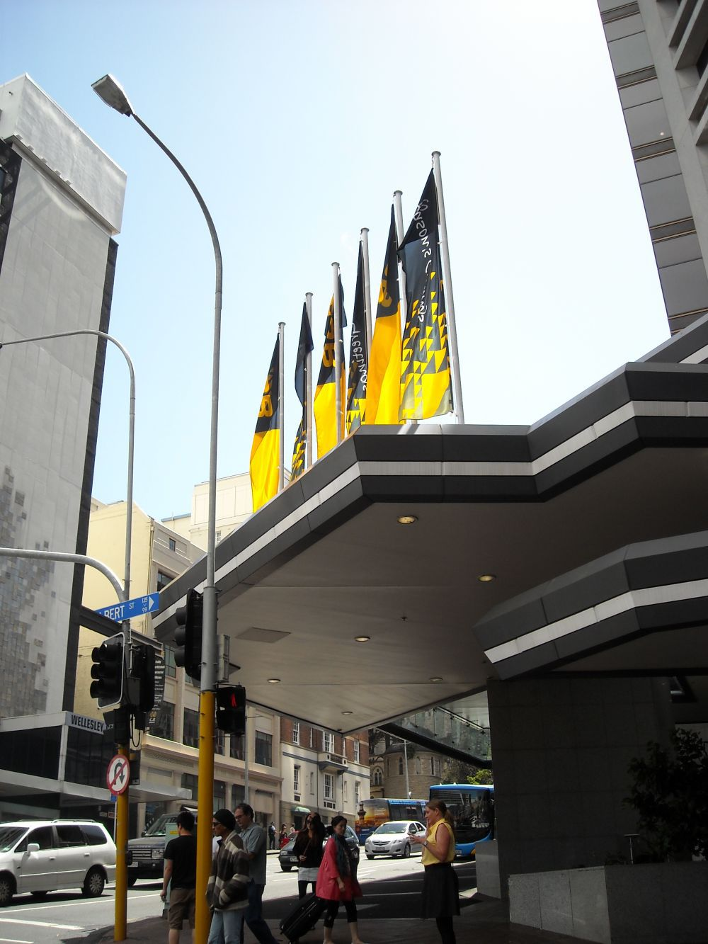 Design and installed Flagpoles on street canopy