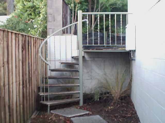 Spiral stair & wrought iron balustrade