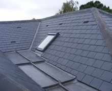 Re-roof: natural Spanish slate and lead valley gutter – South Woodford