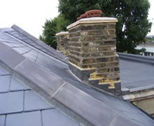 Re-roof:  natural Spanish slate with clay hip tiles – South Woodford