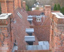 Re-roof:  heritage clay plain tiles and lead sheet – Hampstead