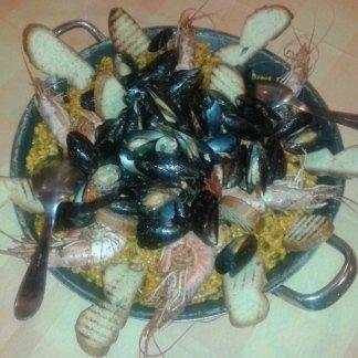 paella di pesce, paella mista, pesce fresco