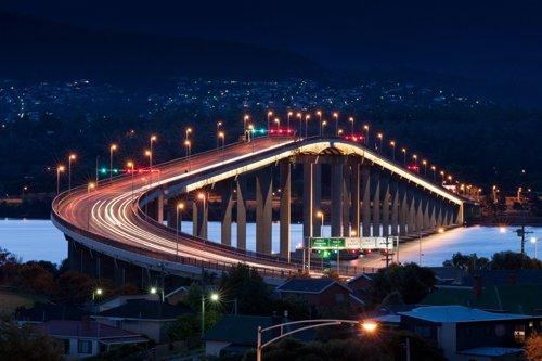 Tasman Bridge at night, Hobart, Australia