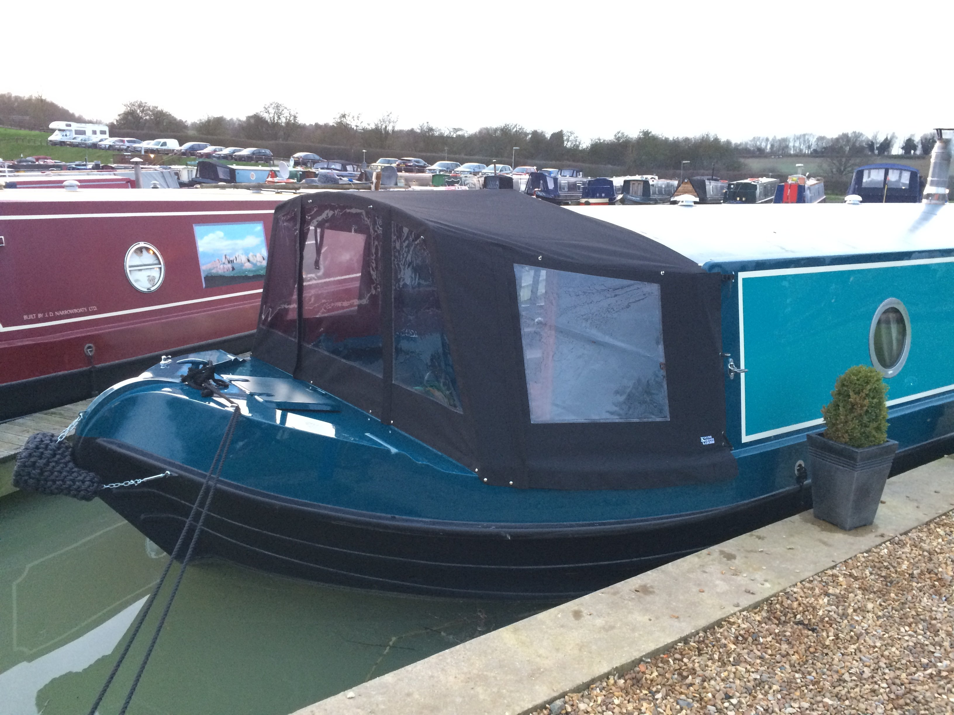 Kinver Canopies Wide beam pram framed cratchFramed cratch on New and Used boat co. Canterbury